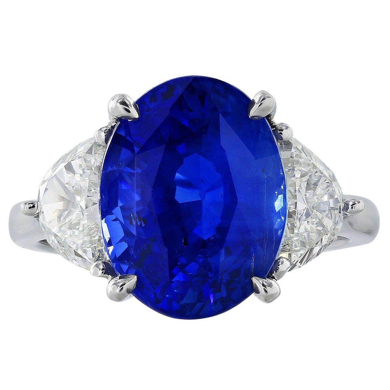 7.66 Carat No Heat Sapphire Diamond Platinum Ring