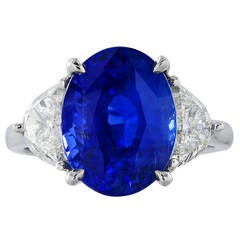 7.66 Carat No Heat Sapphire Diamond Platinum Ring