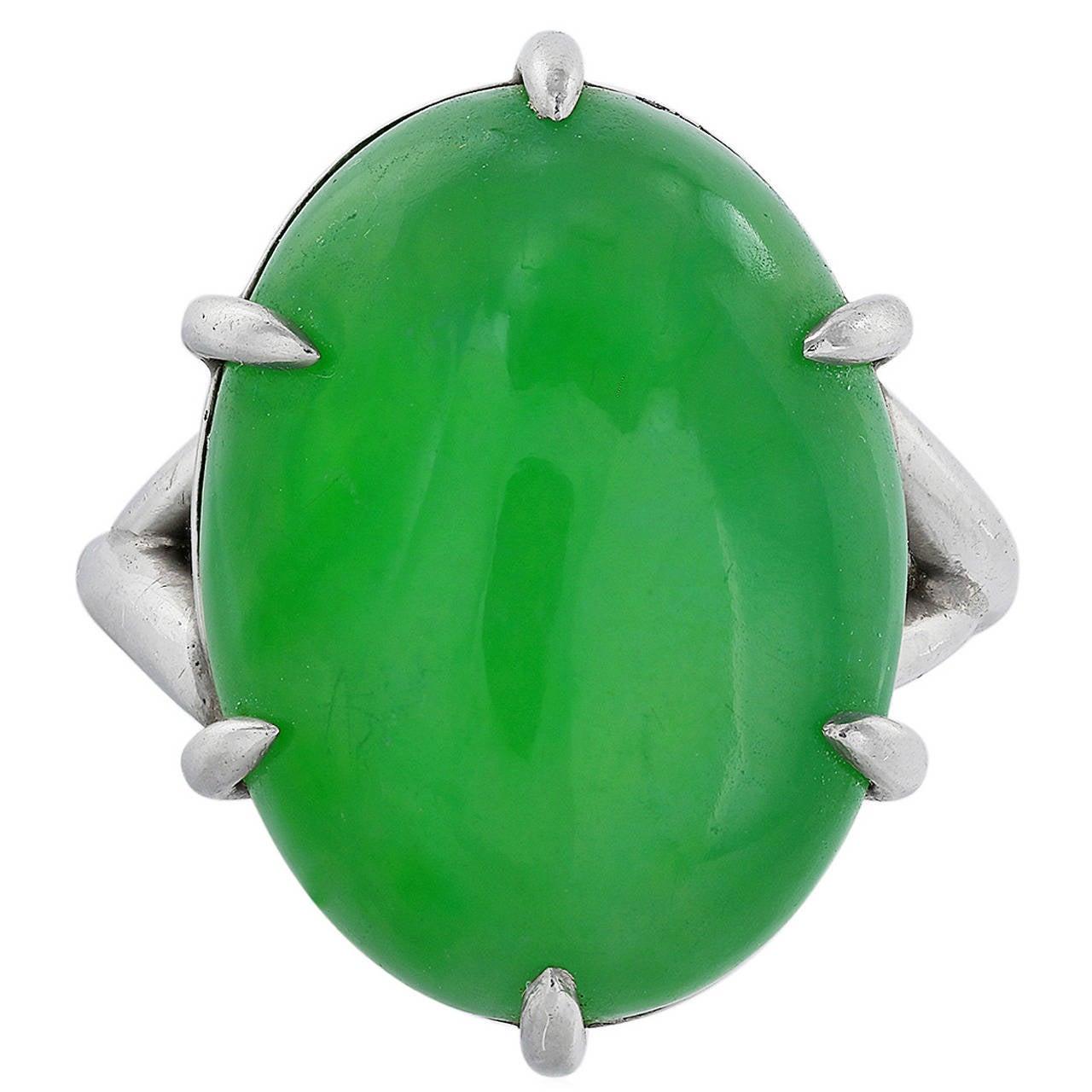 Jadeite Jade Platinum Solitaire Ring 1