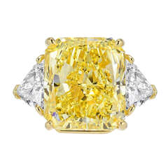 Bulgari 21.07 Carat Radiant Cut Natural Canary Diamond  Ring