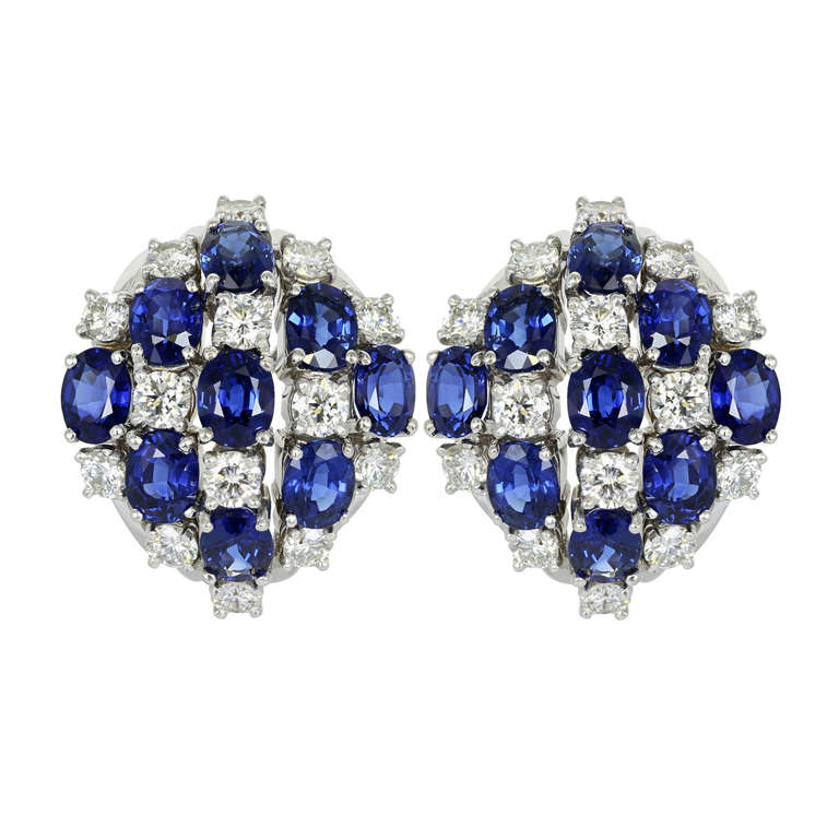 Oscar Heyman Brothers Sapphire & Diamond Clip Earrings