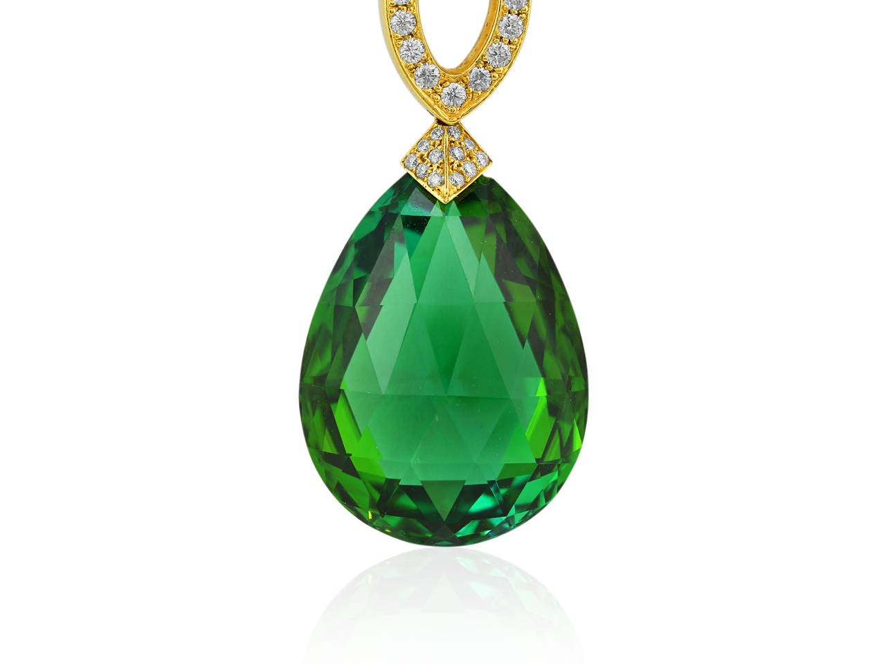 18 karat yellow gold estate necklace consisting of one briolette cut green tourmaline weighing approximately 30 carats set with approximately 1.25 carats of round brilliant cut diamond accents, the necklace is signed Mimi So
