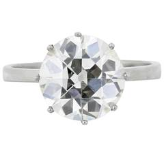 4.06 Carat Old European Cut Diamond Platinum Ring