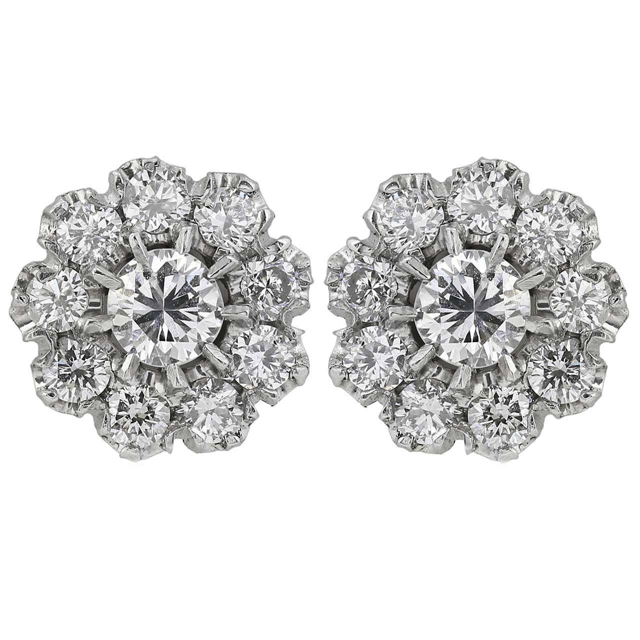 1.40 Carat Diamond Platinum Cluster Earrings 1
