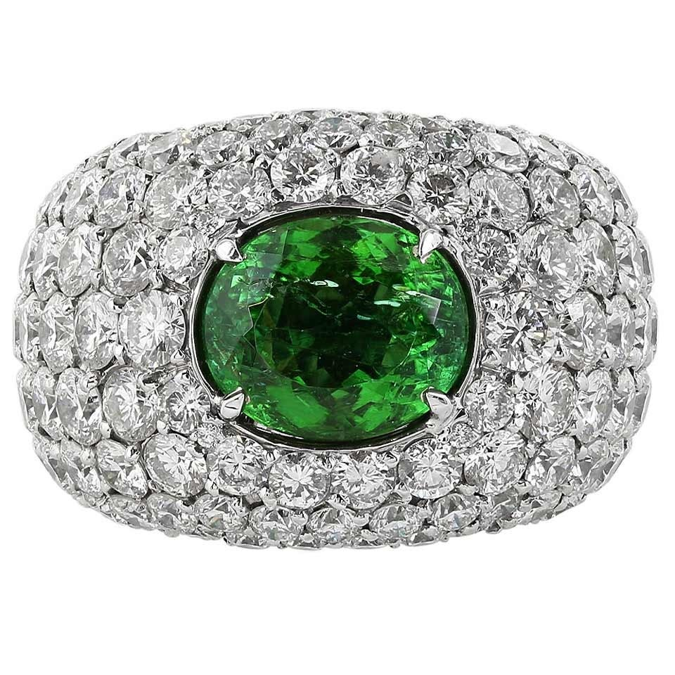 GIA Cert Paraiba Green Tourmaline Diamond Gold Dome Ring