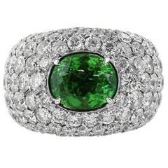 GIA Cert Paraiba Green Tourmaline Diamond Gold Dome Ring