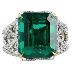 10.18 Carat Emerald Diamond Two-Color Gold Ring