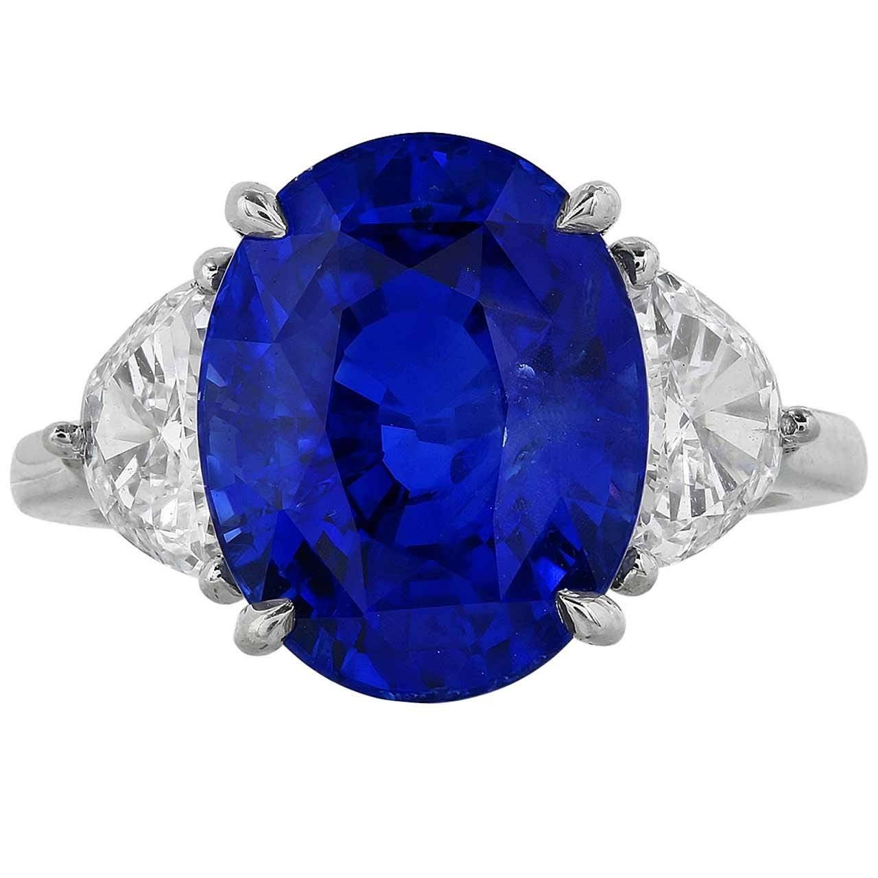 8 46 Carat Unheated Sapphire Diamond Platinum Three Stone