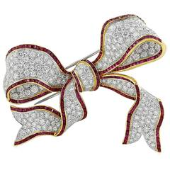 Ruby Diamond Gold Bow Brooch