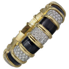 25 Carat Schlumberger Black Enamel and Diamond Bangle Bracelet