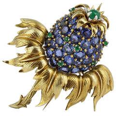 Schlumberger Blue Sapphire Thistle Pin