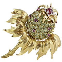 Tiffany & Co. Schlumberger Peridot and Ruby Thistle Brooch