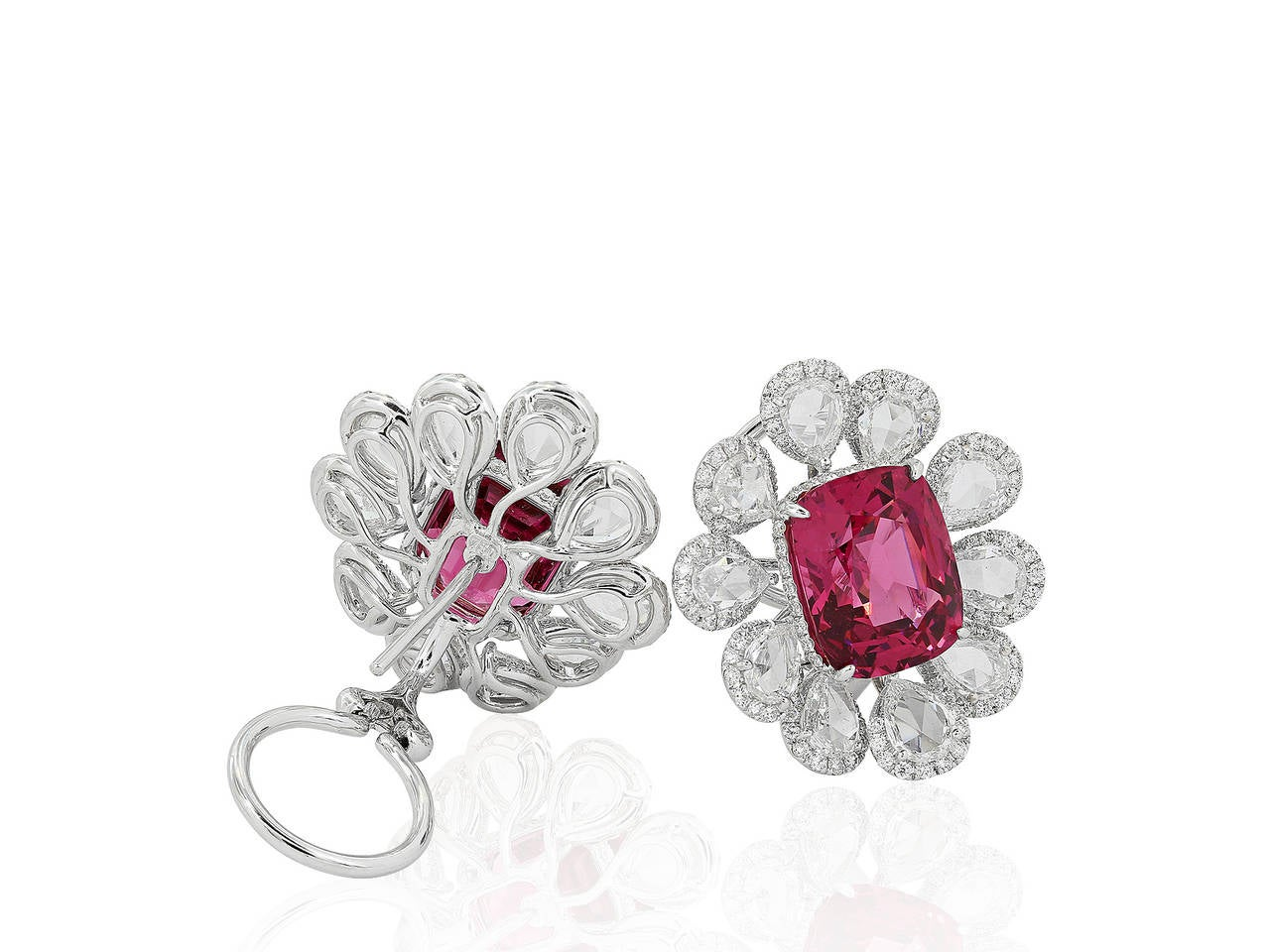 1469 Carat Pink Spinel Diamond Gold Cluster Earrings 2