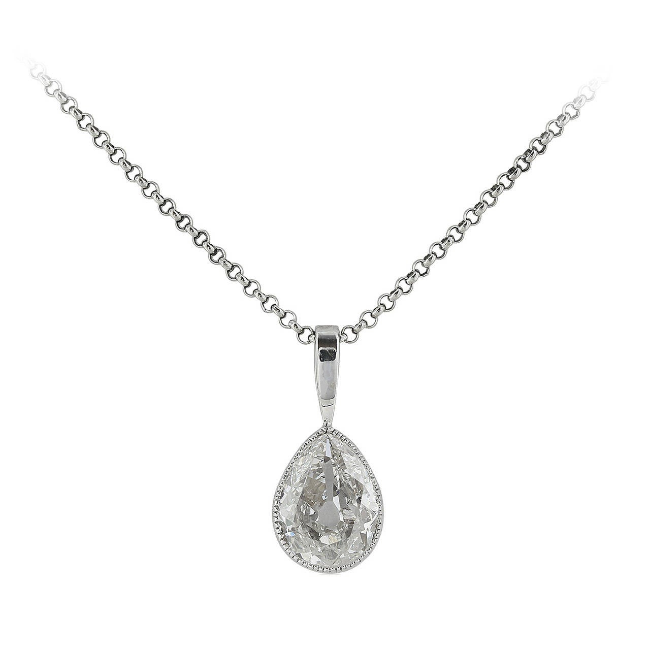 1.10 Carat Antique Pear Diamond Platinum Pendant