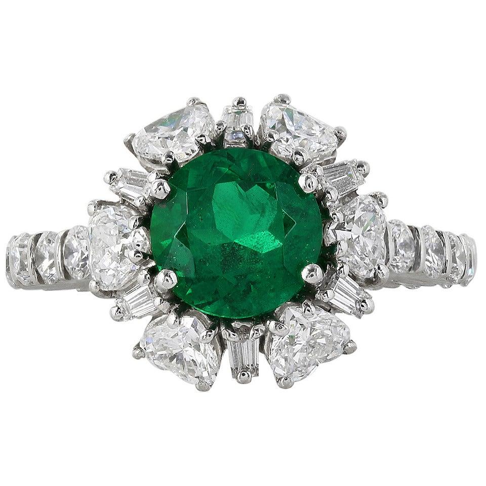 2.02 Carat Colombian Emerald Diamond Platinum Ring