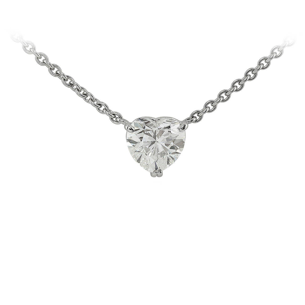 1.89 Carat Heart Diamond Platinum Pendant For Sale