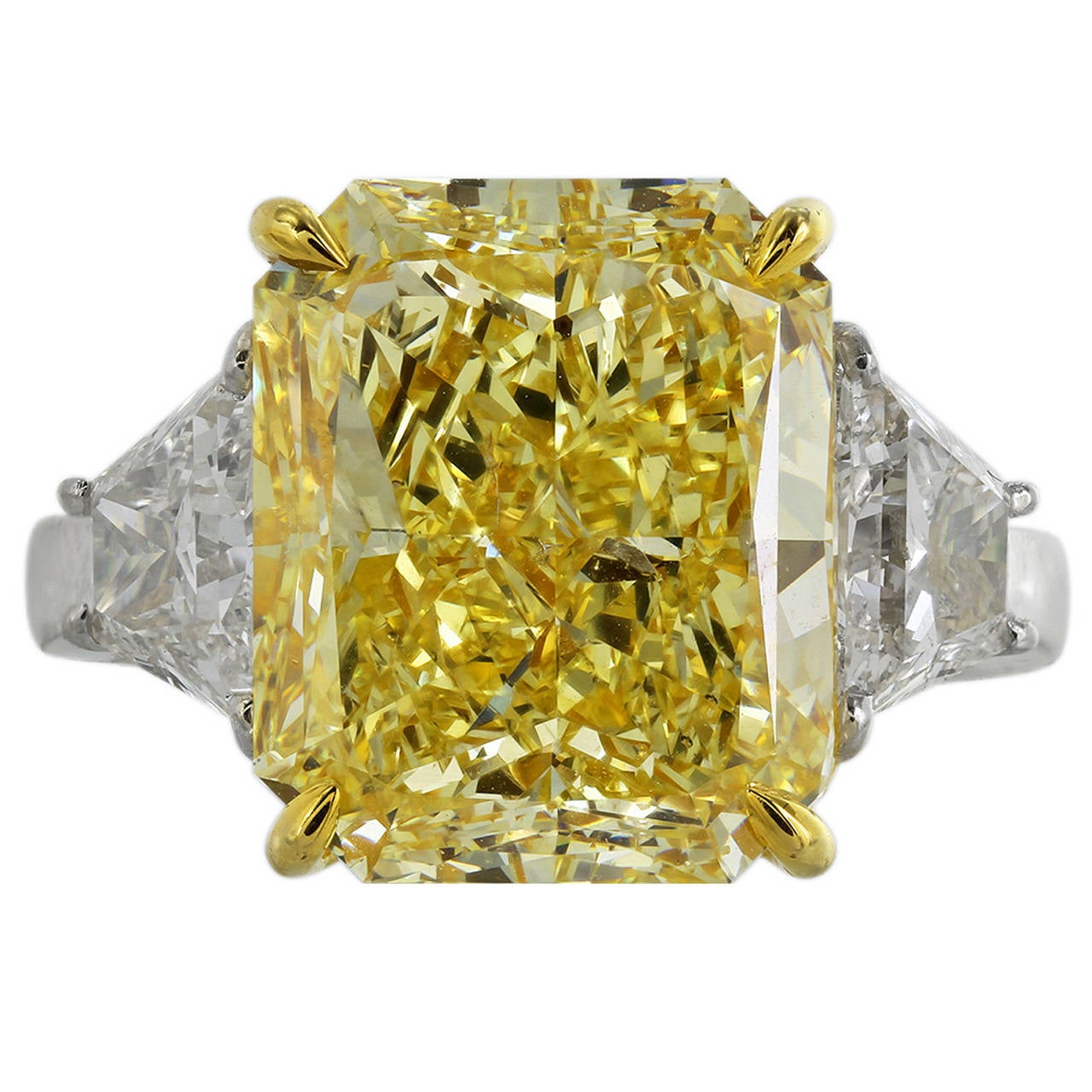 10 Carat Fancy Intense Yellow Diamond Gold Three Stone Engagement Ring at 1st