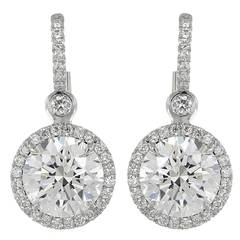 4.05 Carat Diamond Gold Drop Earrings