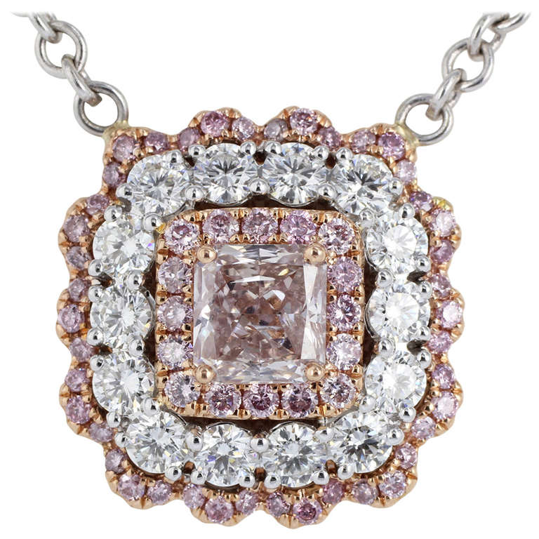 Natural Pink and White Diamond Gold Cluster Pendant For Sale
