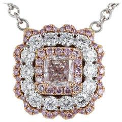 Natural Pink and White Diamond Gold Cluster Pendant