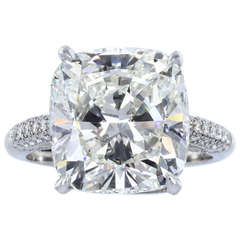 GIA Certified 7.82 Carat Cushion Cut  Diamond Platinum Solitaire Ring