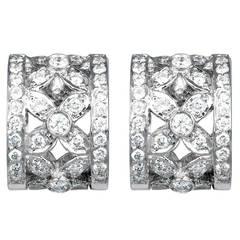 Diamond Gold Floral Pattern Wide Huggie Earrings