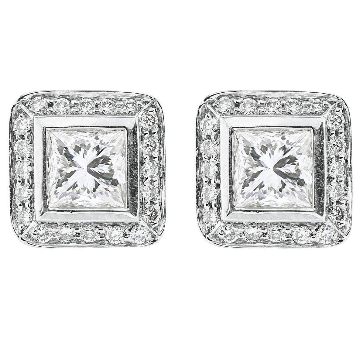 1.01 Carat Princess Cut Diamond Platinum Stud Earrings