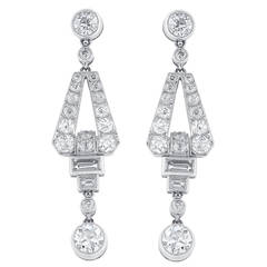 2.46 Carat Diamonds Platinum Dangle Earrings