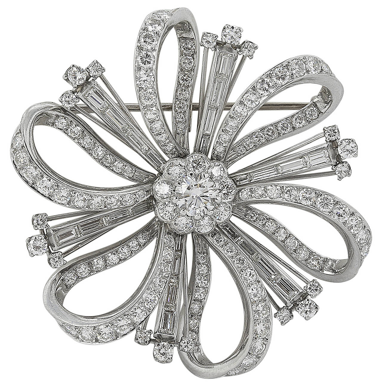 7.25 Carat Diamond Platinum Brooch or Pendant