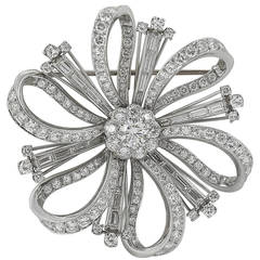 7.25 Carat Diamond Platinum Brooch or Pendant