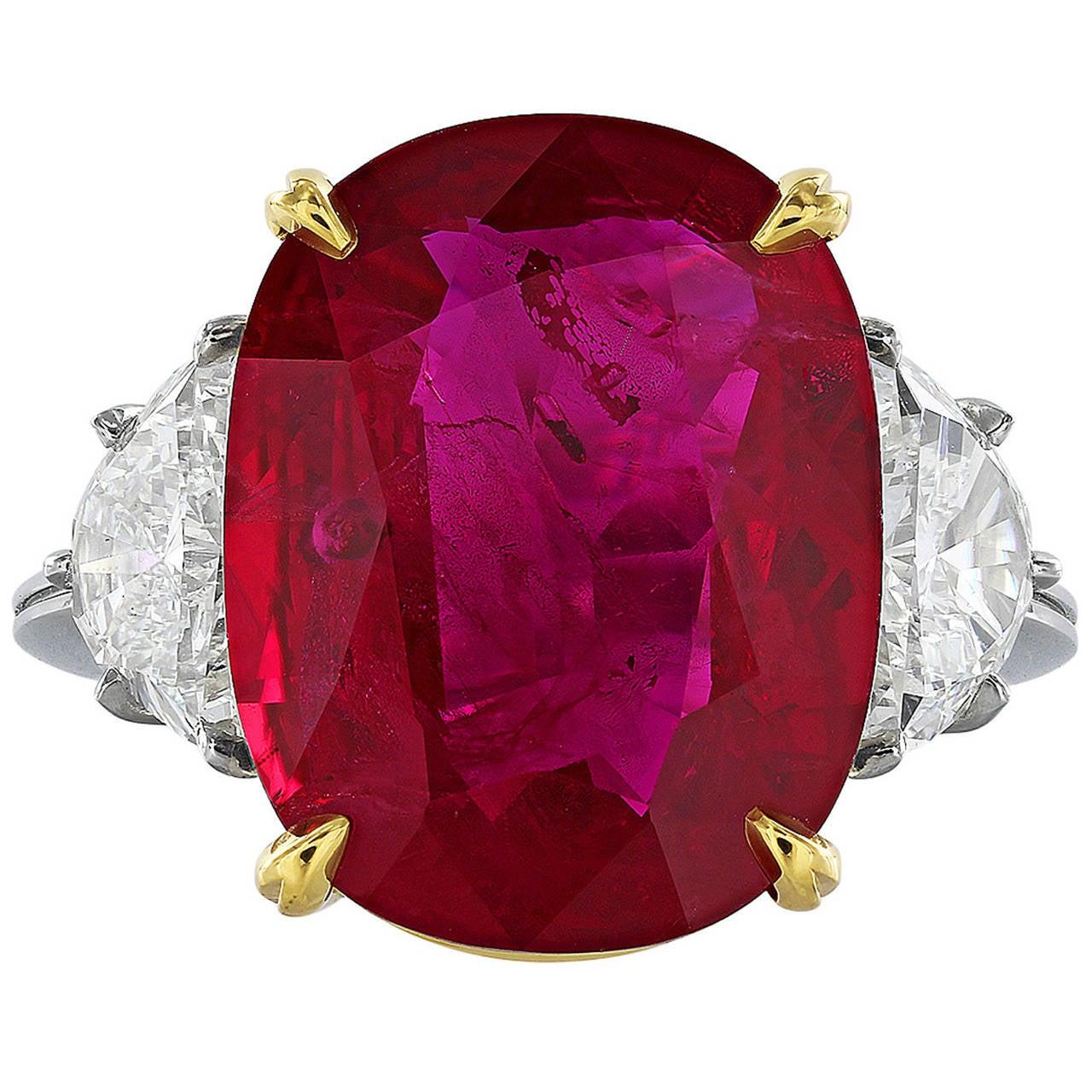 10 24 Carat Ruby Diamond Platinum Ring At 1stdibs