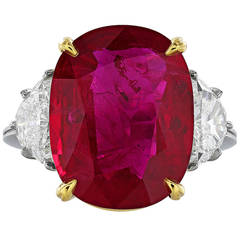 10.24 Carat Ruby Diamond Platinum Ring