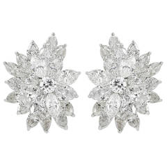15 Carat Diamonds and Platinum Spray Earrings