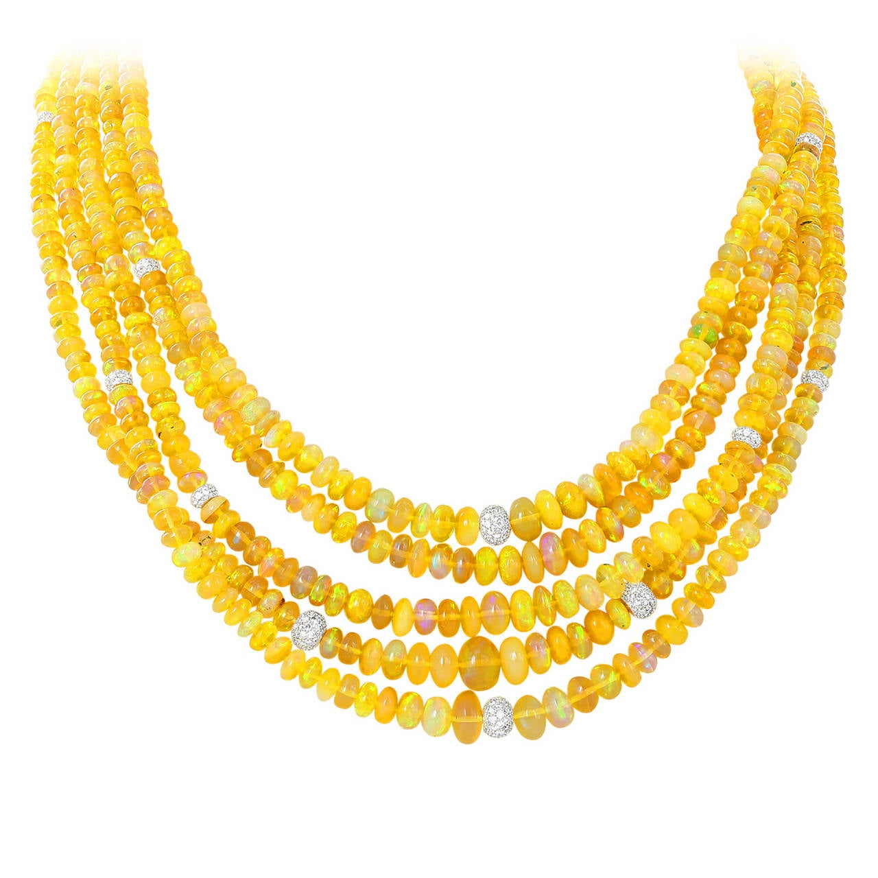 Jelly Opal Diamond Gold Five-Strand Necklace For Sale