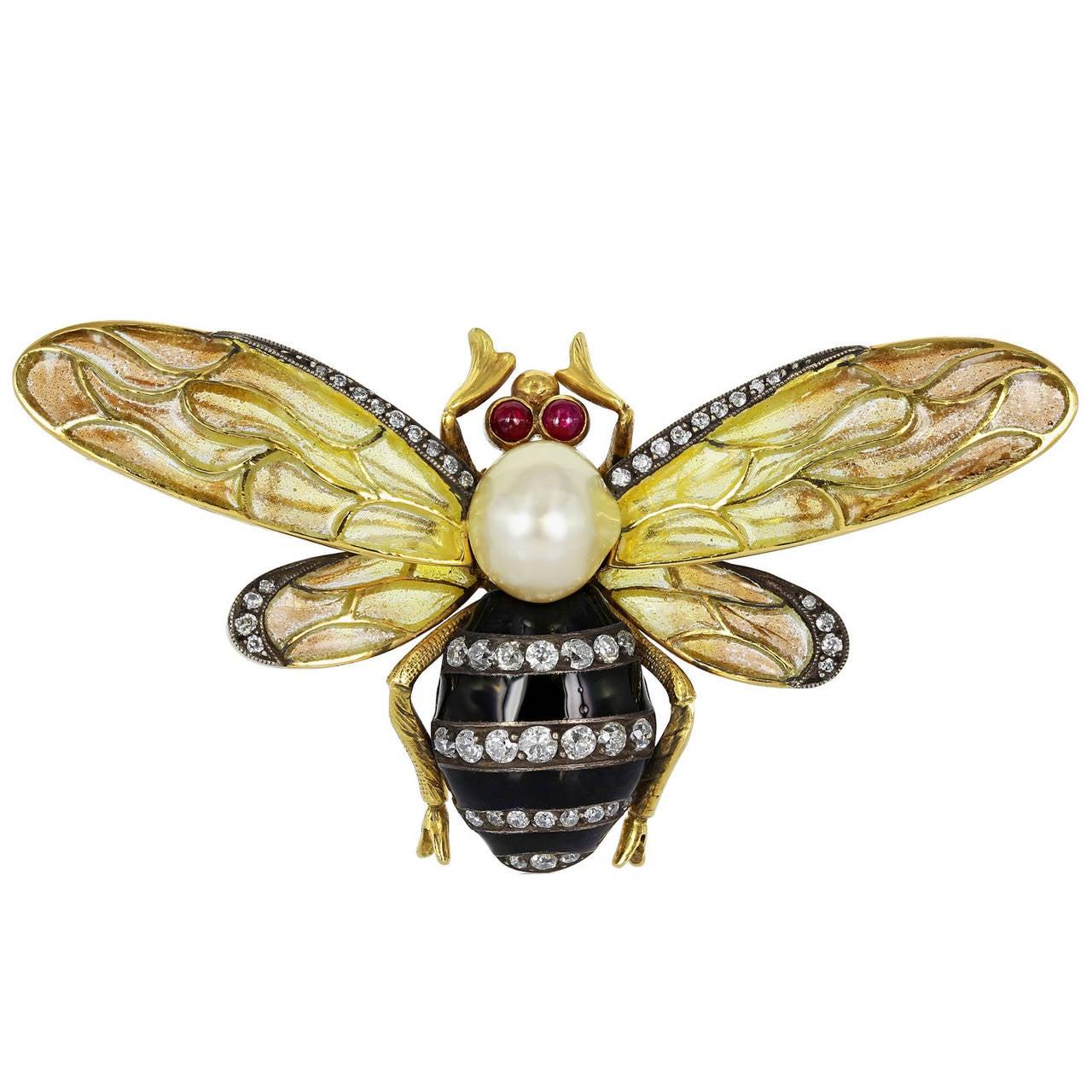 Plique-à-jour Pearl Diamond Gold Bumble Bee Brooch