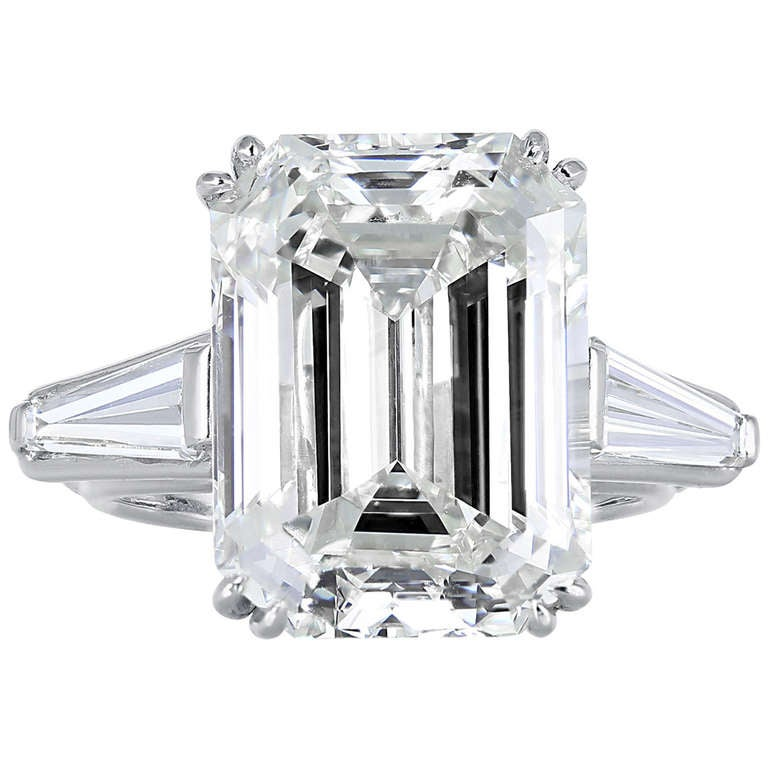 13 49 Carat Emerald Cut Diamond Three Stone Ring at 1stdibs