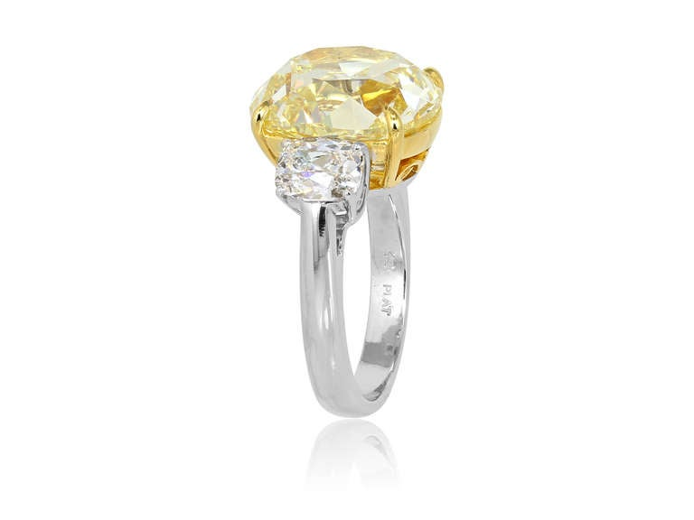 10.79 Carat Natural Yellow Antique Cushion Cut Diamond Ring In Excellent Condition For Sale In Chestnut Hill, MA
