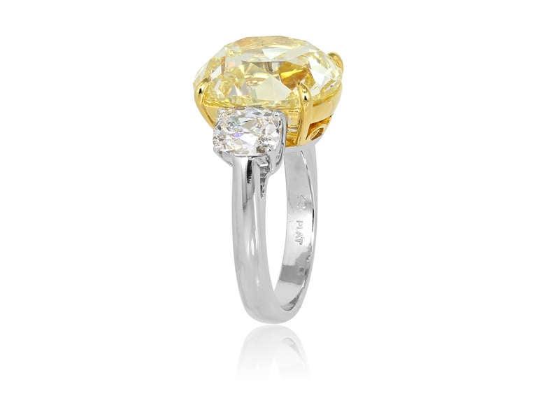 10.79 Carat Natural Yellow Antique Cushion Cut Diamond Ring 3
