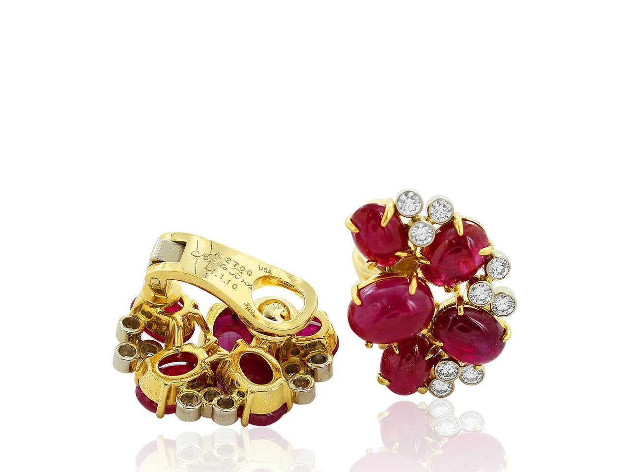 27 Carat Ruby Diamond Two Color Gold Cluster Earrings 2