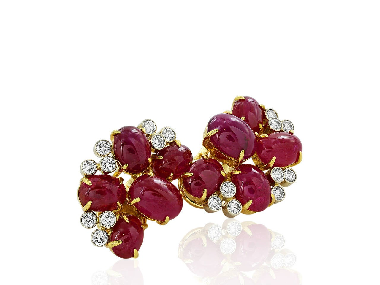 27 Carat Ruby Diamond Two Color Gold Cluster Earrings 3