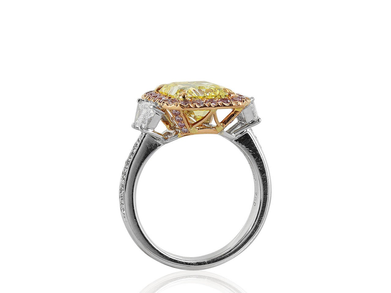 Contemporary 3.02 Carat GIA Certified Fancy Intense Yellow and Pink Diamond Engagement Ring For Sale