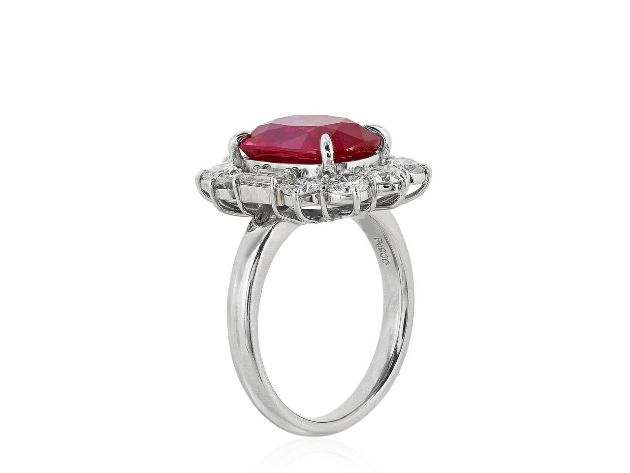 5.07 Carat Ruby and Diamond Cluster Ring 2
