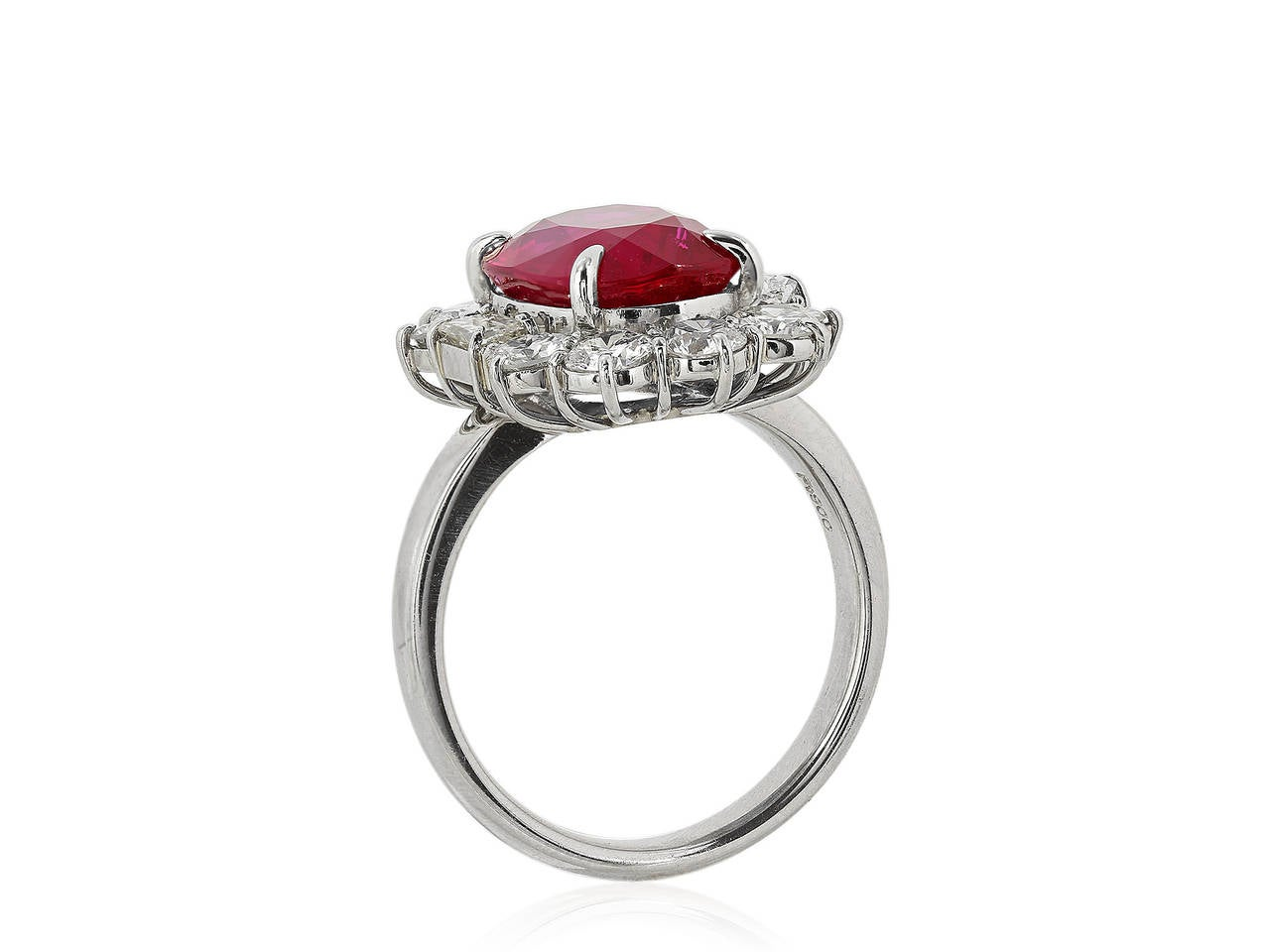5.07 Carat Ruby and Diamond Cluster Ring 3