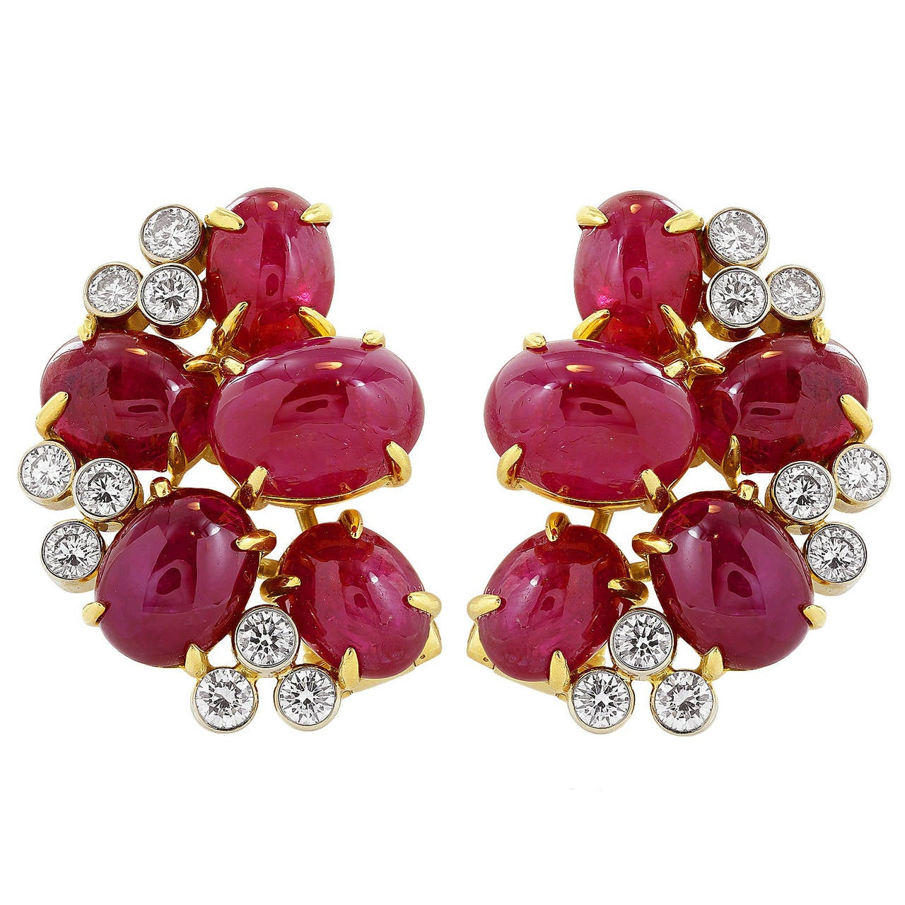 27 Carat Ruby Diamond Two Color Gold Cluster Earrings 1