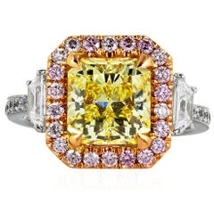 3.02 Carat GIA Certified Fancy Intense Yellow and Pink Diamond Engagement Ring