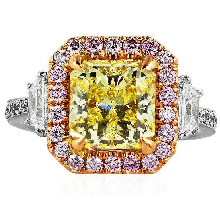 3.02 Carat GIA Certified Fancy Intense Yellow and Pink Diamond Engagement Ring For Sale