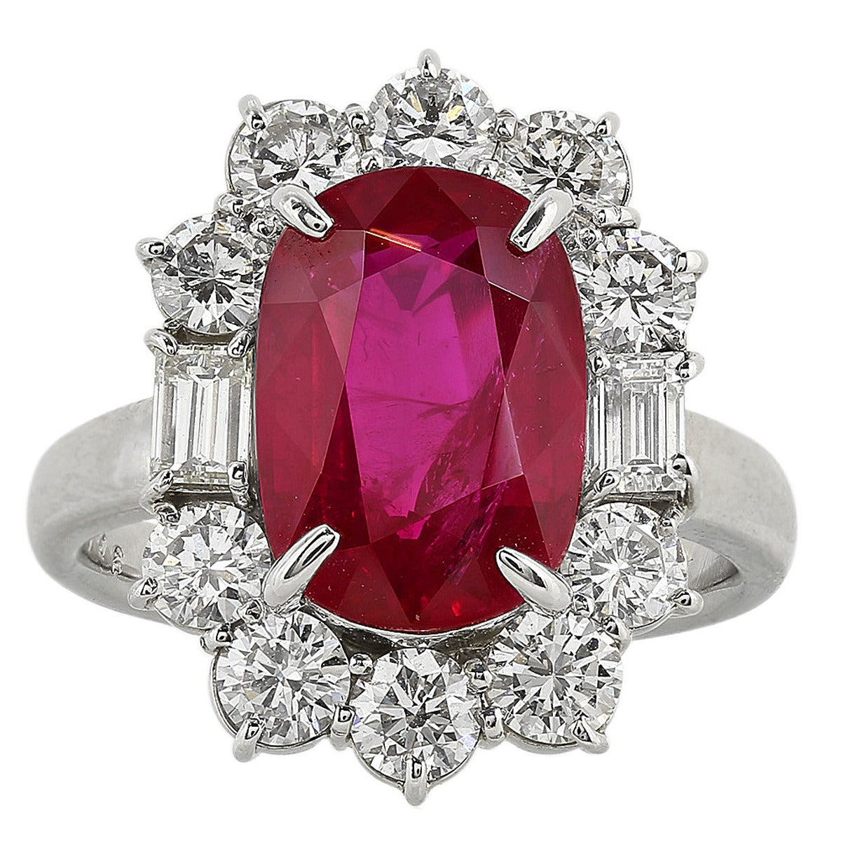 5.07 Carat Ruby and Diamond Cluster Ring 1