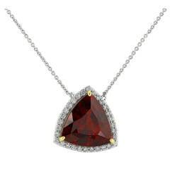 Almandine Garnet Diamond Gold Pendant