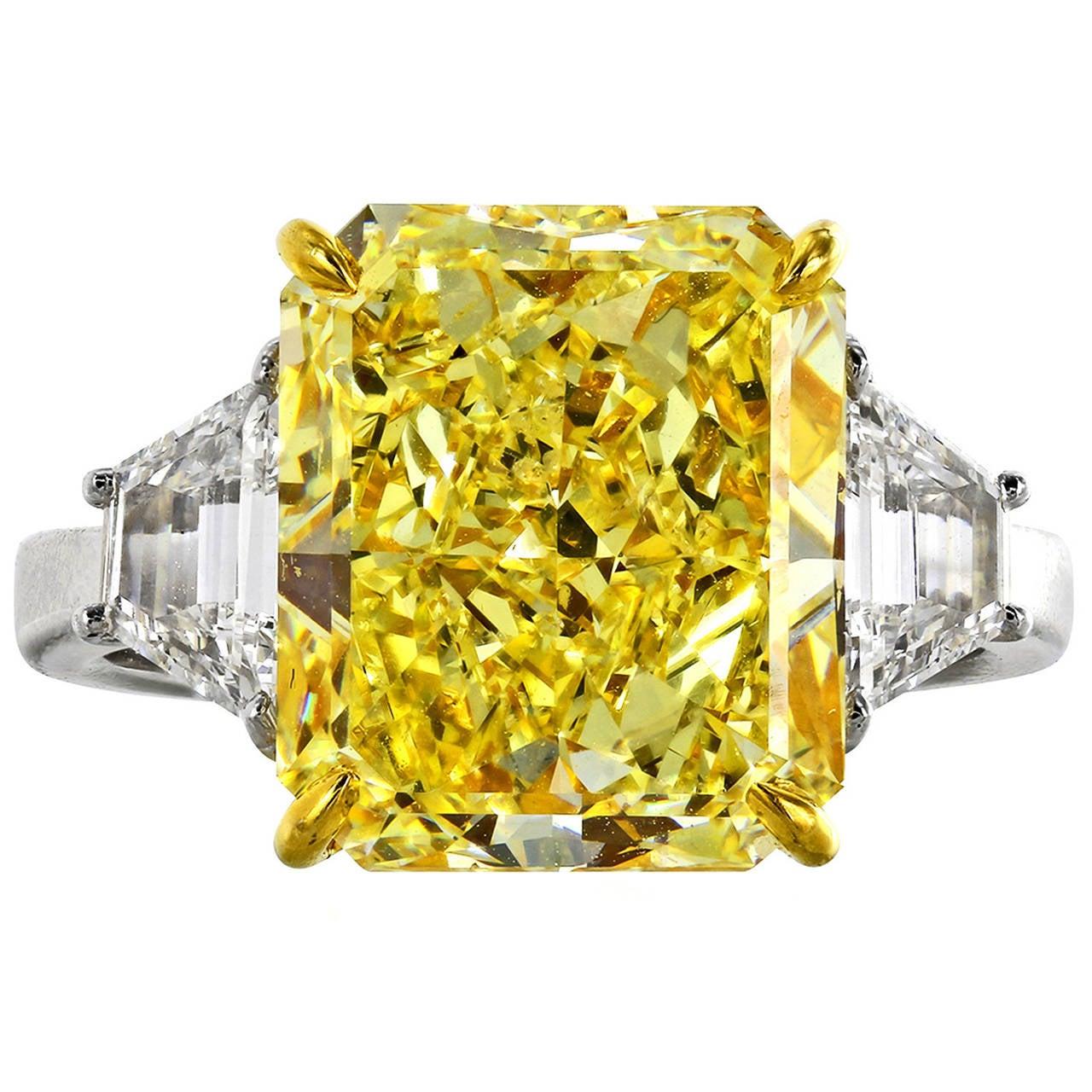 7.01 Carat Fancy Yellow GIA and White Diamond Ring