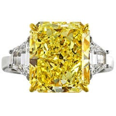 7.01 Carat Fancy Yellow GIA and White Diamond Ring